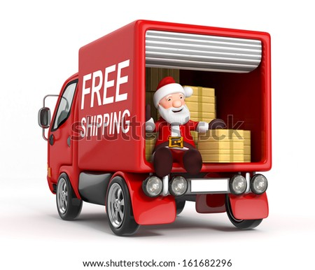 3d cartoon santa claus in truck with cardboard box - stock photo