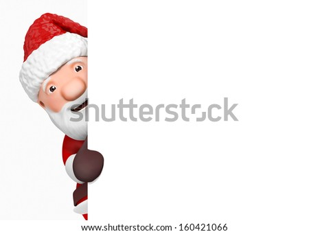 3d cartoon santa claus with blank paper - isolated - stock photo