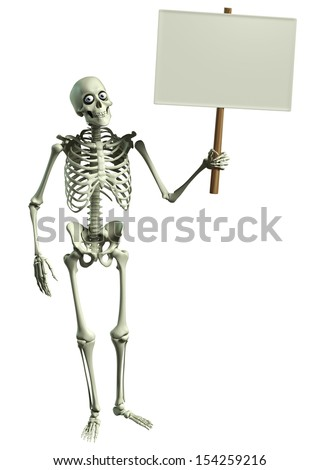 3d cartoon skeleton - stock photo