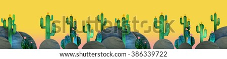 3d cartoon stylized decorations. Mexican theme.  Flat hills with cactuses . Wooden theatrical scenery style, or layered as pop-up books. Seamless border pattern on vivid yellow background.  - stock photo