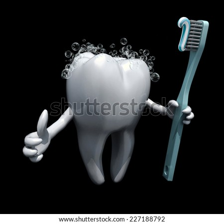 3d cartoon tooth holding a toothbrush isolate on black background - stock photo