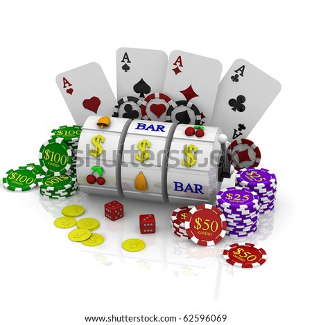 3d casino symbols - stock photo