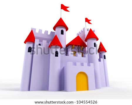 3d castle on a white background. Cute, purple with red roofs and flags - stock photo