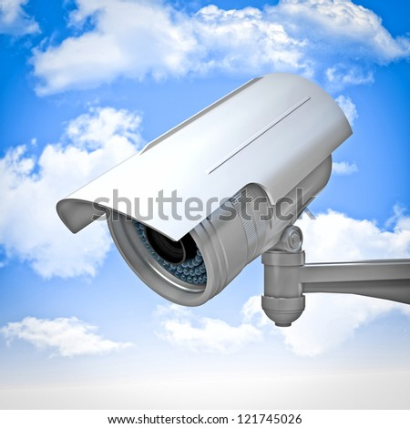 3d cctv and sky background - stock photo