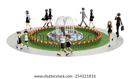 3D CG image of people walking in the park - stock photo