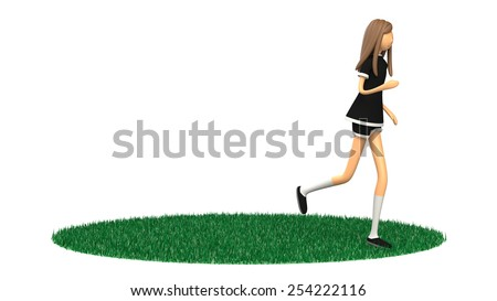3D CG image of woman jogging - stock photo
