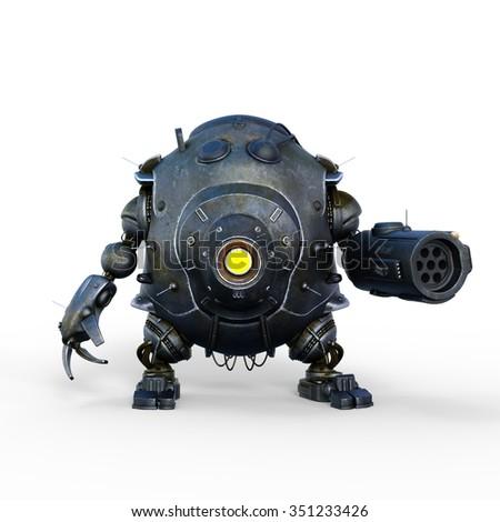 3D CG rendering of a battle robot - stock photo