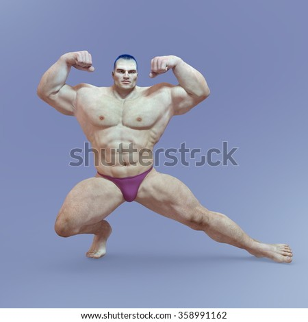 3D CG rendering of a body builder