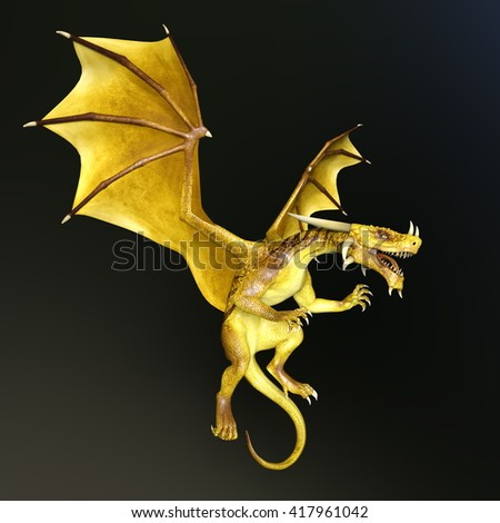 3D CG rendering of a dragon - stock photo