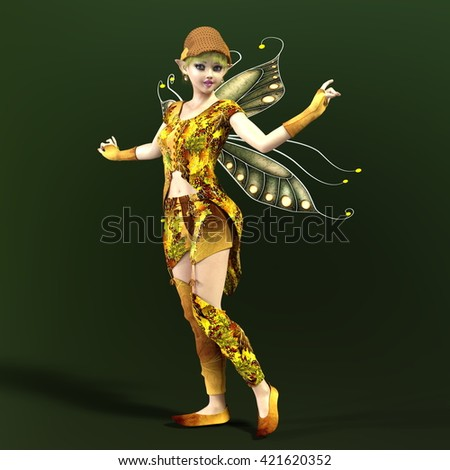 3D CG rendering of a fairy - stock photo