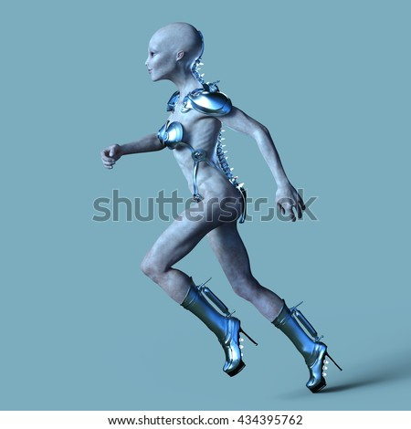 3D CG rendering of a female alien