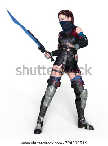 3D CG rendering of a female fencer