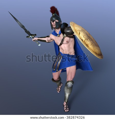 3D CG rendering of a gladiator