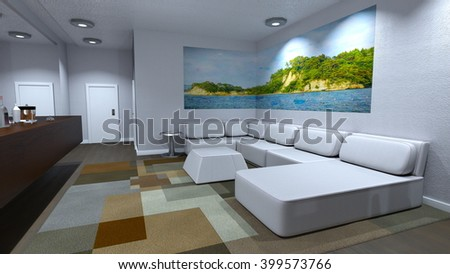 3D CG rendering of a living room