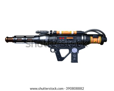 3D CG rendering of a radioactivity gun - stock photo
