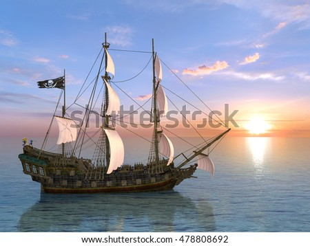 3D CG rendering of a sailing boat