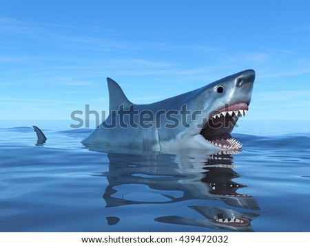 3D CG rendering of a shark - stock photo
