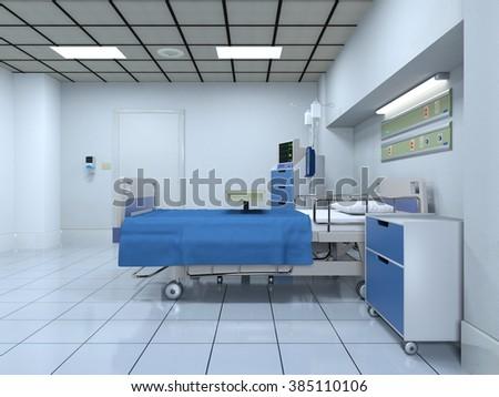 3D CG rendering of a sickroom - stock photo