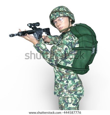 3D CG rendering of a soldier - stock photo