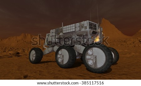 3D CG rendering of a space rover
