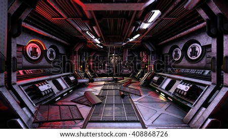 3D CG rendering of a space station - stock photo