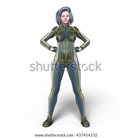 3D CG rendering of a super woman - stock photo