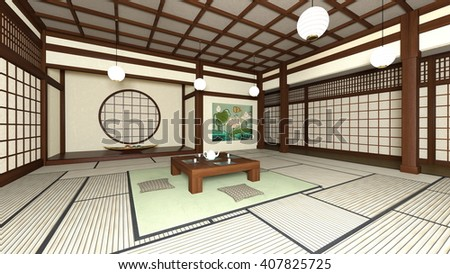 3D CG rendering of Japanese style rooms & 3 D CG Rendering Japanese Style Rooms Stock Illustration 407825725 ...