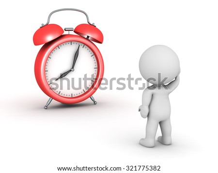 3D character and alarm clock. Isolated on white background.