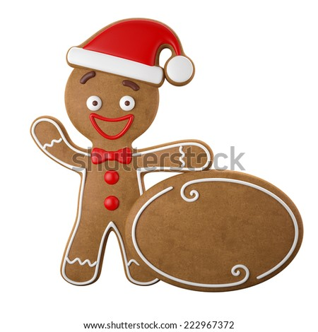 3d character, cheerful gingerbread, Christmas funny decoration, baked sweet candy, baby boy with frosting, funny fresh addition isolated on white background with free ticket banner for your text - stock photo