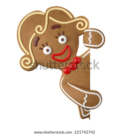 3d character, cheerful gingerbread, Christmas funny decoration, baked sweet candy, girl with frosting, funny fresh addition isolated on white background - stock photo