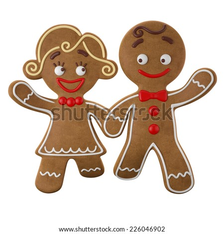3d character, cheerful gingerbread, Christmas funny decoration, baked sweet candy,  with frosting, funny fresh addition isolated on white background, sweet couple boy and girl, happy children - stock photo