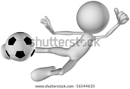 3d character footballer player playing - stock photo