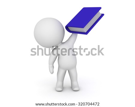 3D character holding a large blue book. Isolated on white background.