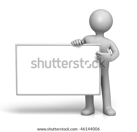 3D Character holding Sign board Side (with Clipping Path)