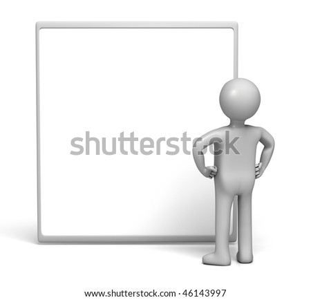 3D Character Looking at Board (with Clipping Path) - stock photo