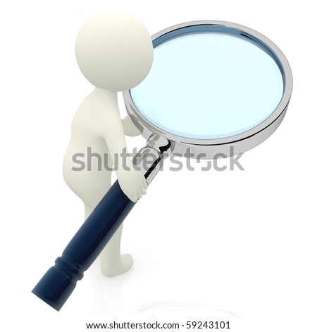 3D character looking, through a magnifying glass - isolated over a white background - stock photo