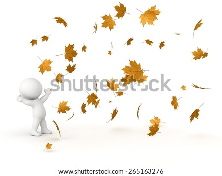 3D Character Looking up at falling Autumn Leaves  - stock photo