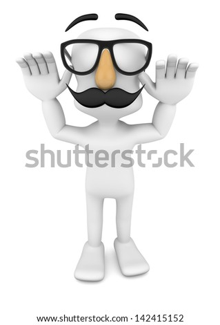 3d character making fun, April fool's day - stock photo