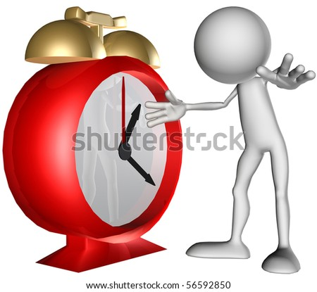 3d character on clock - stock photo