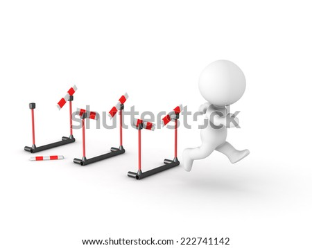 3D character running through athletic barriers