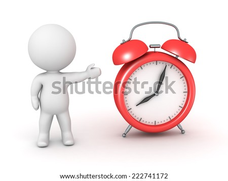 3D character showing a red alarm clock, isolated on white, isolated on white