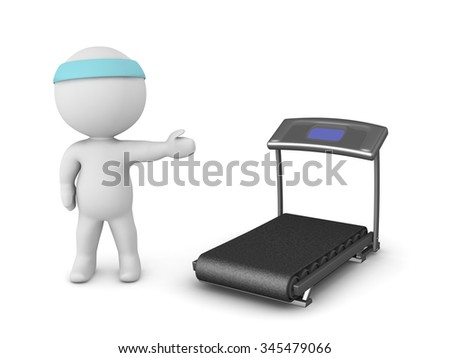 3D character showing a treadmill. Isolated on white background.  - stock photo