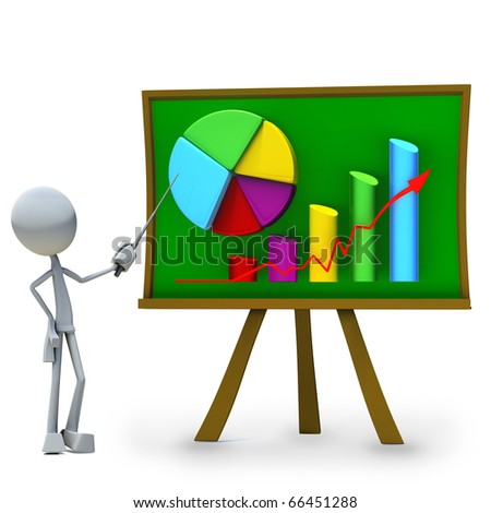 3D character showing of chart on greenboard - stock photo