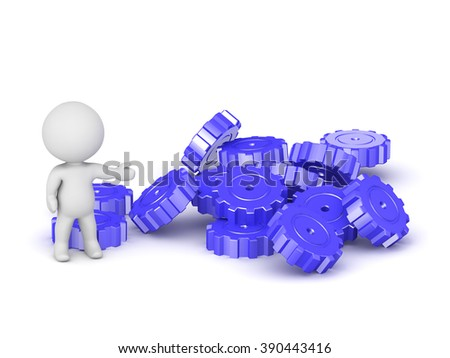 3D character showing pile of large gears. Isolated on white background.
