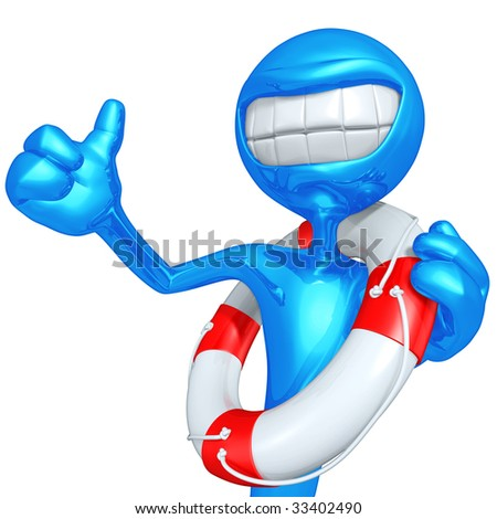 3D Character Smiling With Lifebuoy - stock photo
