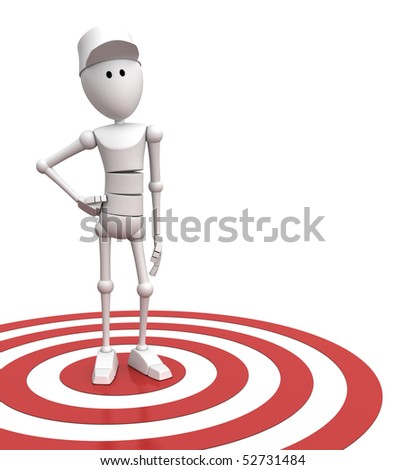 3d character standing on a red target - 3d render/illustration - stock photo