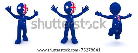 3d character textured with flag of Australia isolated on white background - stock photo
