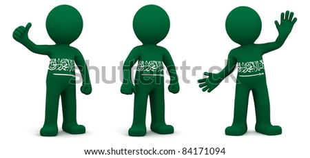 3d character textured with flag of Saudi Arabia isolated on white background - stock photo