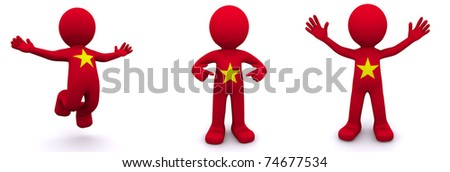 3d character textured with flag of Vietnam isolated on white background