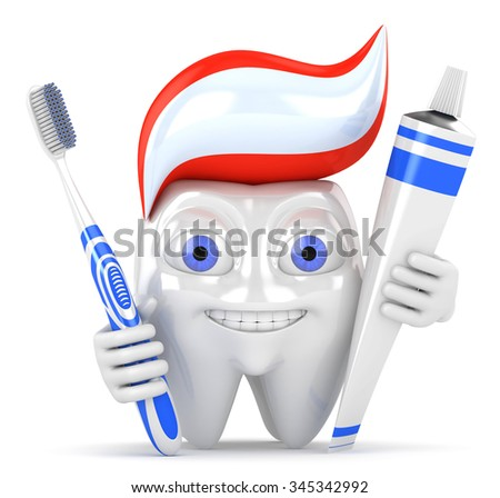 3d character tooth with toothbrush and toothpaste - stock photo